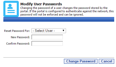 12 Portal Administration User s Guide Resetting a user s Password To reset a user s portal password, first click the Password Manager. This will bring you to the Password Reset page.