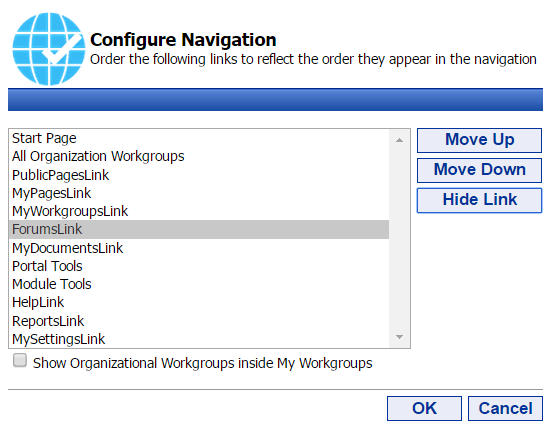 53 Portal Administration User s Guide Working with the Navigation Settings Tool The Navigation Settings Portal Tool allows you to reorder navigation nodes and to hide navigation nodes inside of the