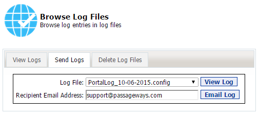55 Portal Administration User s Guide Working with the Browse Log Files Tool The Browse Log Files Portal Tool allows you to view portal logs which contain entries on events that take place in the