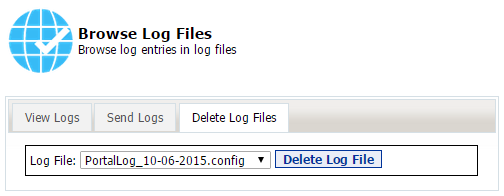 56 Portal Administration User s Guide Deleting Logs If you would like to delete log files you can do so by clicking the Delete Log Files tab, then find the log file you would