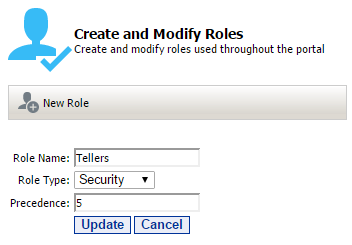 8 Portal Administration User s Guide Creating Roles In order to create a new role, open the role manager tool and click the New Role button. This will open the create new role page.