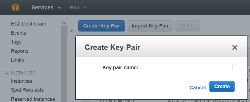 chosen, but you should choose based on your needs. Create a Key Pair From the EC2 Dashboard, click Key Pairs from the navigation panel. Click Create a Key Pair. Create a name for the Key Pair.