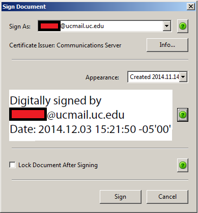 24. An Acrobat dialogue box opens which instructs you to specify an area on the LVS image where you would like your digital signature to appear.