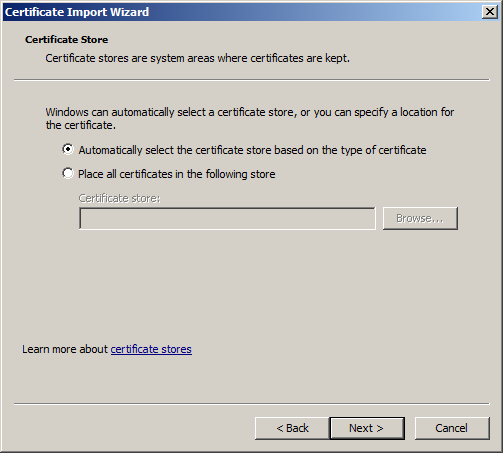 17. In the third Certificate Import Wizard box, enter your PIN from Step 10 in the password field then click Next> (Fig 12): Fig 12: Certificate
