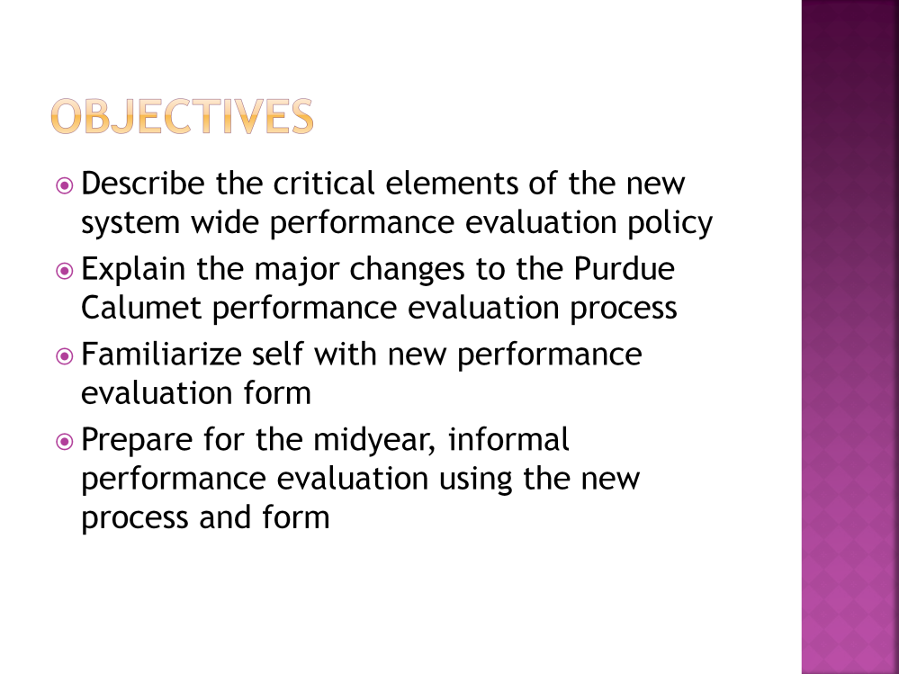 What you can expect to learn more about or be able to do as a result of participating in this module is as follows: First, you will be able to describe the critical elements of the new system wide