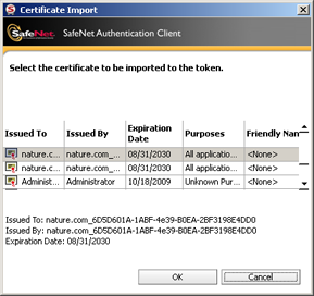 48 6. If you select Import a certificate from my personal certificate store, a list of available certificates is displayed.