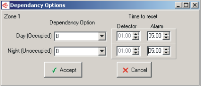 30 XFP Programming Software Help Manual Type C Dependancy option - When this option has been set, the operation is as follows; If a Detector in that zone is triggered, the panel will recognise that