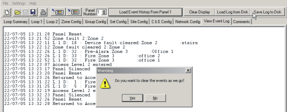 46 2.10 XFP Programming Software Help Manual View Event Log View Event Log Please note that the Event Log information can be loaded from the panel, or loaded from and saved to Disk.