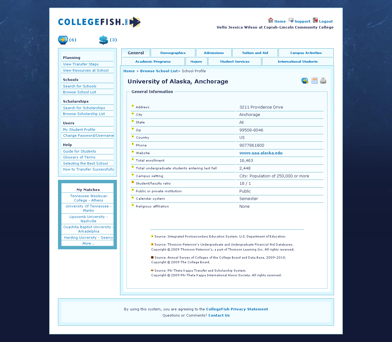 Helpful Hint: Once the college is selected, the school s profile will be displayed.