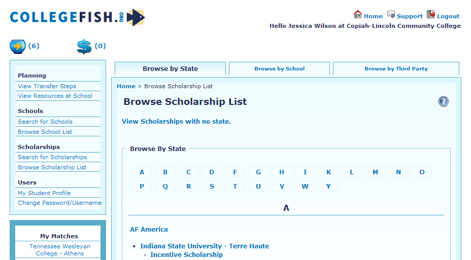 Search and Browse Scholarships Our scholarship database includes scholarships for roughly 3,000 third-party scholarships.