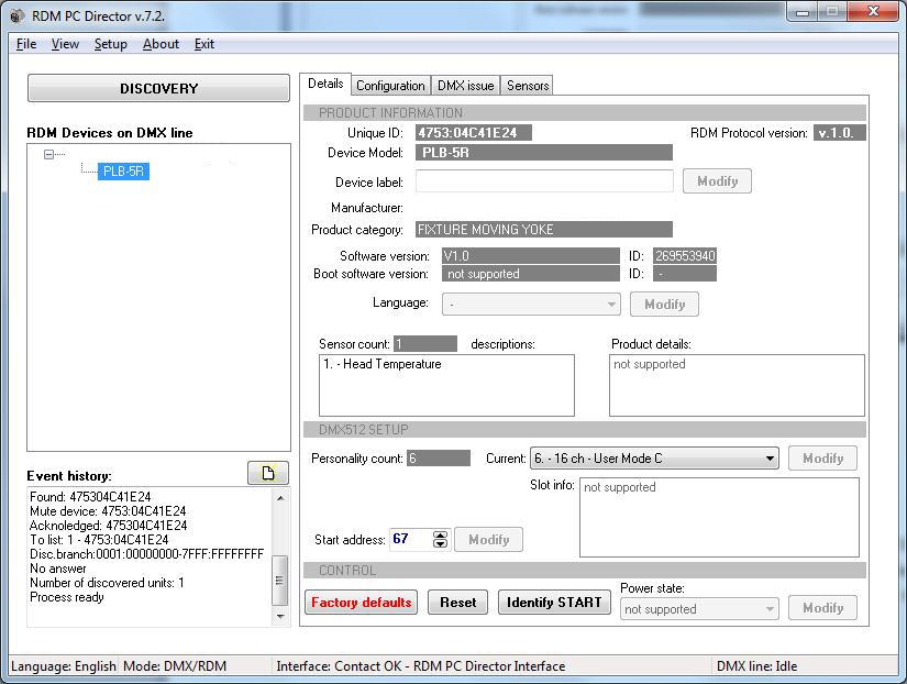 MENU VIEW - RDM The main function of the Interface is the RDM window. After start of program this window can be see.