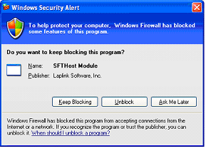 FileMover 1.2 6 If you are installing FileMover on a Windows XP machine with Service Pack 2 installed, you will get the screen seen below, asking if you want to Unblock the program.