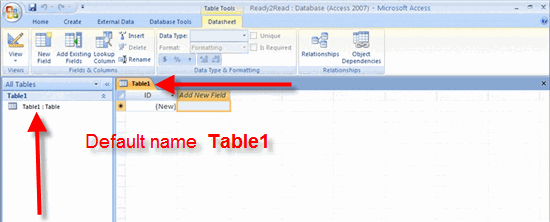 Table The new database opens with one table showing as a default.