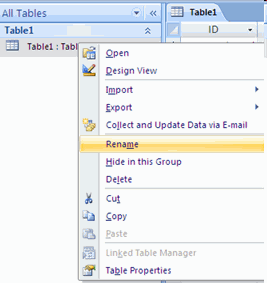Creating a Table To rename a table: Open the desired database by clicking the Microsoft