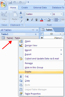 Creating a Table To delete a table: Open the desired database by clicking the