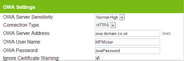 7.2.1 Send Test OWA Settings If you have selected SMTP as the send server type, you can skip this section.
