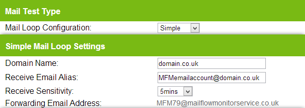 5.0 Simple Setup Configuration 1) Create a mailbox enabled user on your email server and make a note of its email address 2) Log into the Mail Flow Monitor Portal at https://portal.mailflowmonitor.
