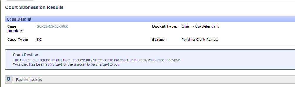 The Co-Defendant will be scheduled for the same date and time as the original claim. Enter the credit card information and click the Submit To Court button.