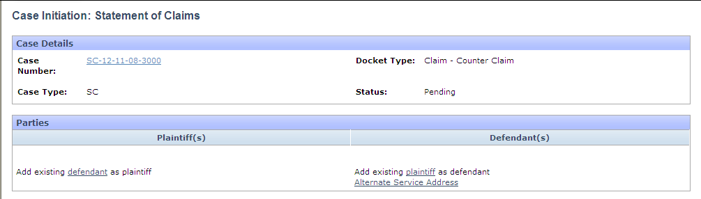 Counter-Claim Enter the claim and click the Next button. Click on the drop down menu and choose Counter-Claim.