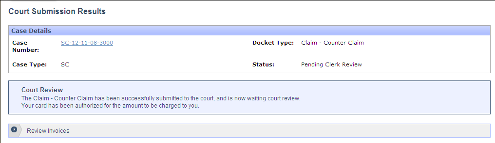 The Counter-Claim will be scheduled for the same date and time as the original claim. Enter the credit card information and click the Submit To Court button.