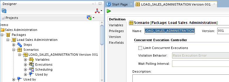 Figure 8 1 New Scenario Dialog 3. The Name and Version fields of the Scenario are preset. Leave these values and click OK. 4. Oracle Data Integrator processes and generates the scenario.