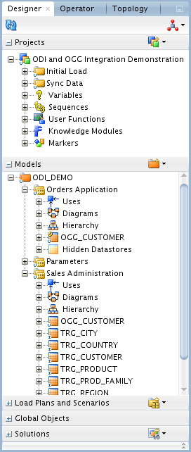 Figure 9 3 Designer Navigator The demonstration environment provides the objects you will need in order to use Oracle Data Integrator and Oracle GoldenGate together: In the Models accordion, you will