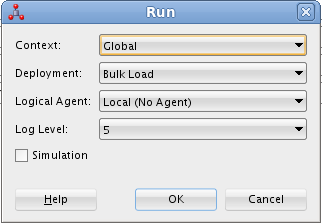 Figure 9-12 Running Load TRG_CUSTOMER Mapping Leave the default settings, make sure you are using the Bulk Load