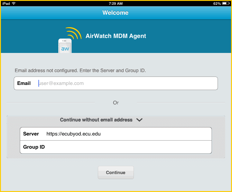 Configure AirWatch for Your Mobile Device These instructions created using an Android Smartphone AirWatch Mobile Device Management (MDM) Agent is an app that provides faculty and staff secure access