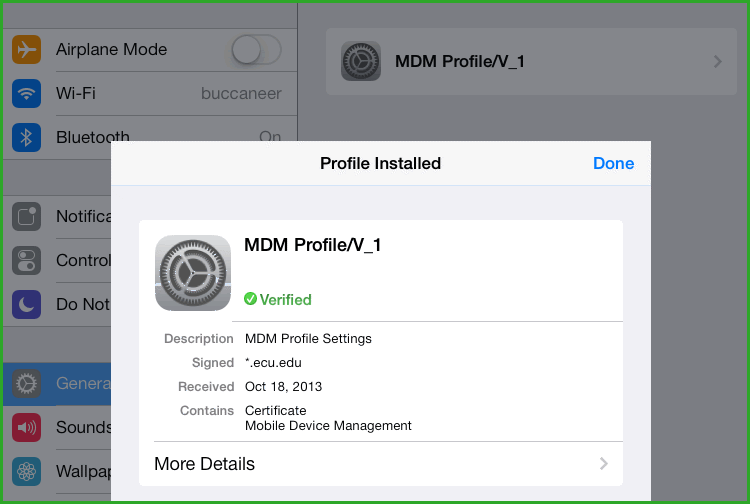The next warning screen says: Installing this profile will allow the administrator at https://ecubyod.ecu.edu/device Services/AppleMDM/Processor.