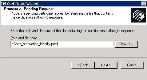 Completing the Certificate Request from IIS Manager 6 1. Return to the IIS Manager. Select Start > Control Panel > Administrative Tools > Internet Information Services (IIS) Manager. 2.