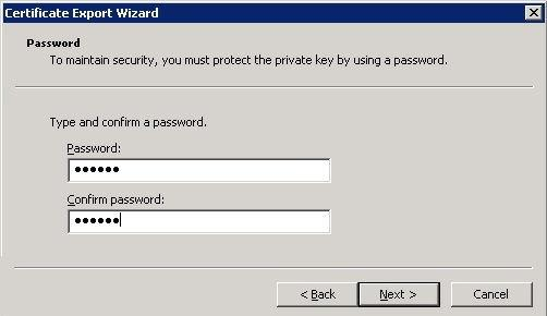 Enter and confirm a password.