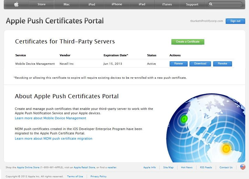 6. When the upload has finished, a new certificate for ZENworks Mobile Management appears. Select Download to download the Apple signed certificate.