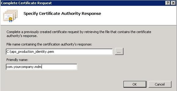 Completing the Certificate Request from IIS Manager 7 1.