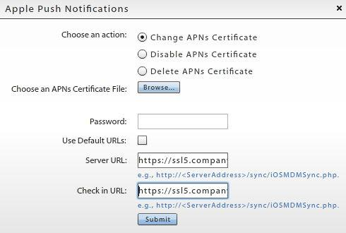 7. Click the Submit button. After you have uploaded an APNs certificate, it appears under the APN Certificate field on the dashboard in the format com.apple.mgmt.
