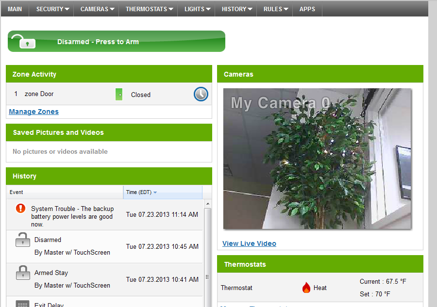 WEB ACCESS Access your interactive home security system through your personal, secure web page.