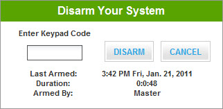 1 Security Indicates the overall status of your security system. 3 5 4 To arm a disarmed system: 1. Click the Security Status header when it is in the Disarmed state.