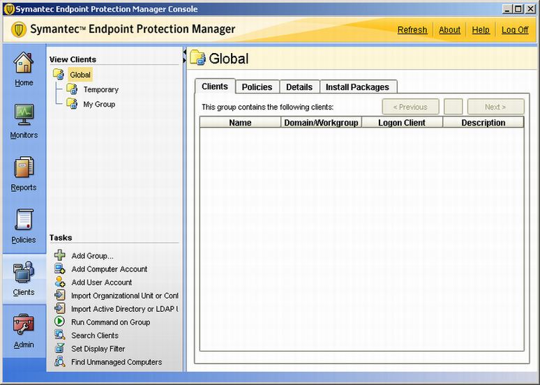 Getting Started 17 Figure 1-3 Group About policies Symantec Endpoint Protection Manager lets you configure and apply policies to groups or locations in groups.