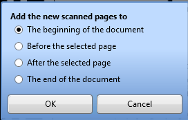 To Insert pages from a connected scanner, click the Scan