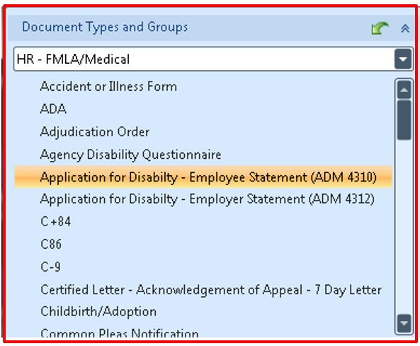 From the Document Retrieval pane select a Document Type Group from the dropdown menu.