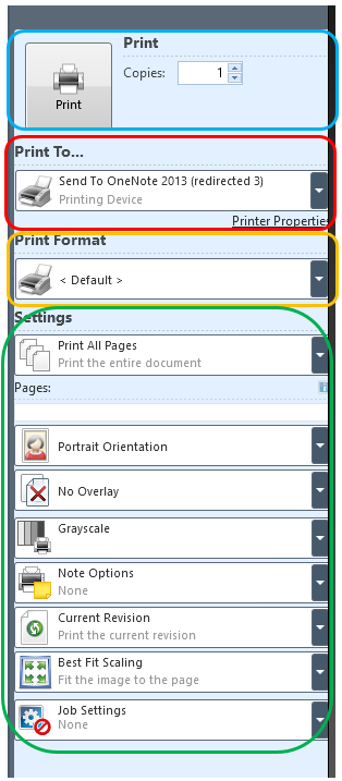 54 a. Select the Print To and find the printer you would like to print to. b. Printing format can be left as default. c. Settings i.