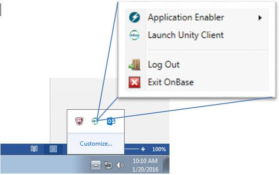 If the OnBase Unity Client does not open it may be running in your system tray.