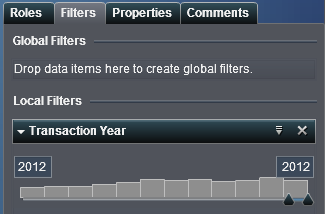 FILTERS - BASICS Let s focus on 2012 only. STEP 1: Drag and drop the Transaction Year field to the filter tab. Put it in the Local Filters section.
