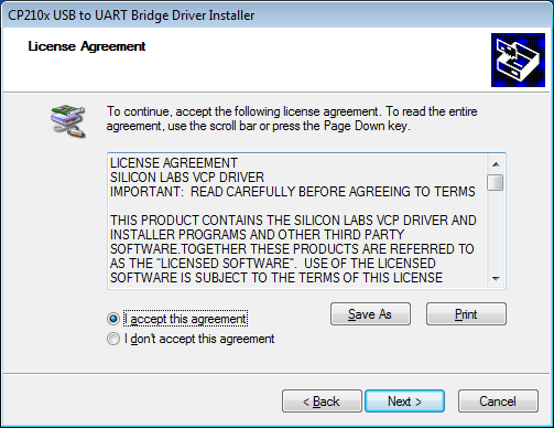 6. The License Agreement window will be displayed.