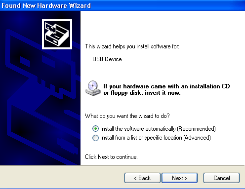 2.1.2 You should automatically see a Found New Hardware Wizard Window. Select the option Yes, this time only and then click the Next button.