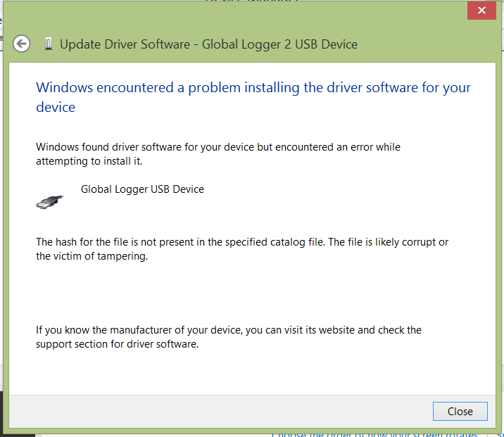 Installing Global Logger USB Drivers For 32-bit Windows 8, skip to the section labeled, Continue with Driver Installation. For 64-bit Windows 8, start the process here.
