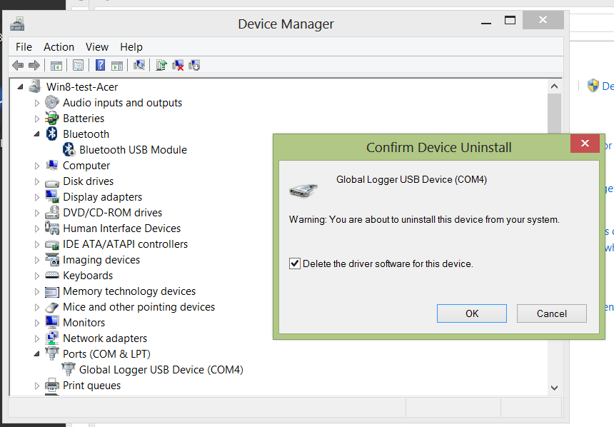 Windows provides a checkbox that allows the automatic deletion of all driver software files. Select this checkbox and click OK.