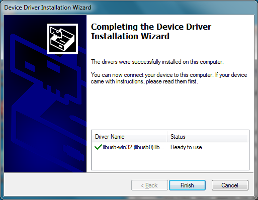 At the Welcome to the Device Driver Installation Wizard, choose Next >. The software will take a moment to install.