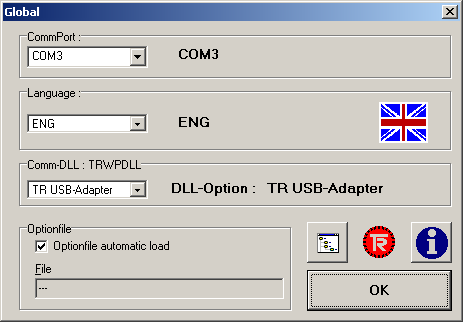 6) Again, only with the USB cable connected open the TRWinProg software, select Global from the Extra Menu and verify the following parameters.
