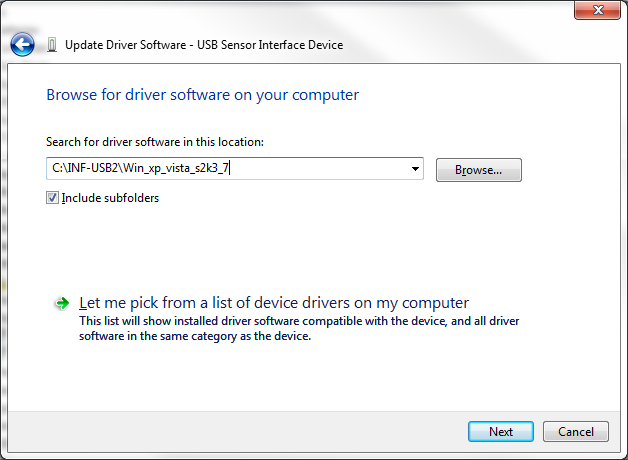 d. Select Browse my computer for driver software e.