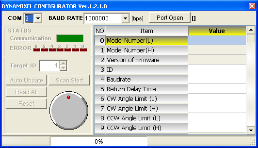 Step 4: Run the Dynamixel Configurator Software Start the Dynamixel Configurator Software. The default view is shown in Figure 16.
